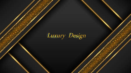 Gold on black luxury background. Golden glowing lines and shiny sparks with glittering effect. Modern geometric design, abstract luxurious backdrop.