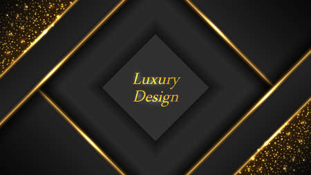 Gold glowing luxury background. Golden lines with neon light effect, shiny sparks and stardust shimmer. Abstract modern design, vector illustration Illustration