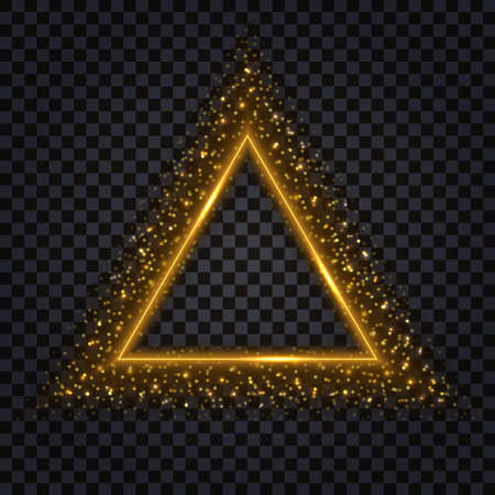 Gold glowing triangle. Glittering sparkles and stardust, golden border. Triangular shape, realistic effect, isolated object on dark transparent background.