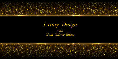 Gold glowing background with glitter effect. Golden border lines and shiny luminous sparkles on black background. Decorative backdrop, modern luxurious design. Abstract  illustration