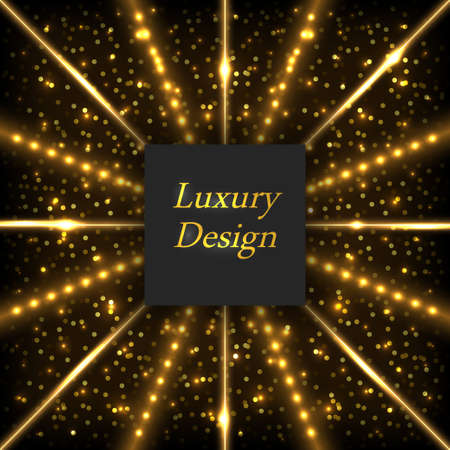 Gold glowing luxury background. Shiny lines with neon light effect and LED rays, shimmering sparkles and stardust. Modern geometric design, vector illustration