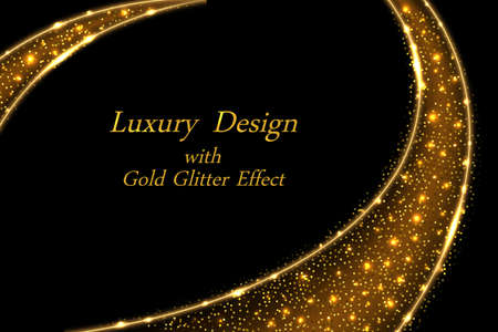 Gold glowing luxury design, dynamic golden swirl on black with shiny sparkles and star dust shimmer. Abstract vector illustration for poster or cover background. Illustration