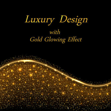Gold luxury design, golden glowing sparkles on black background. Shiny star dust with light effect and wave border line. Illustration