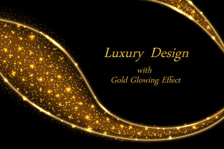 Gold glowing luxury design. Golden dynamic swirl with shiny sparkles on black. Modern geometric style. Abstract vector illustration