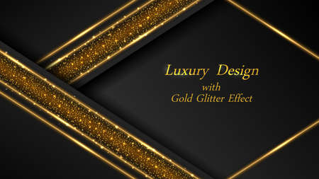 Gold on black luxury background. Golde glowing lines and shiny sparks with glittering effect. Modern geometric design, abstract luxurious backdrop. Vector illustration