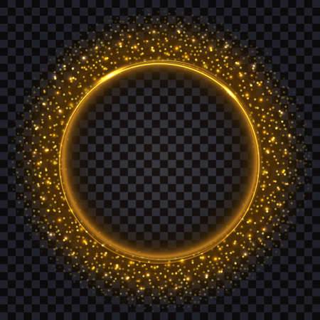 Gold glowing frame with glittering sparkles. Golden border, round shape, realistic shiny effect. Isolated object on dark transparent background, vector illustration
