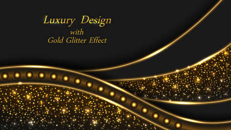 Gold glow luxury background with glitter effect. Shiny golden swirl lines with neon light, stardust shimmer. Modern luxurious geometric design for banner or poster, vector illustration 矢量图像