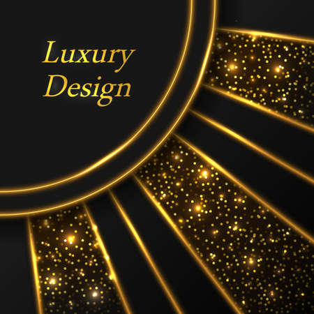 Gold glowing luxury background. Golden ray lines with neon shine effect, luminous particles and sparkles. Modern geometric design. Abstract vector illustration