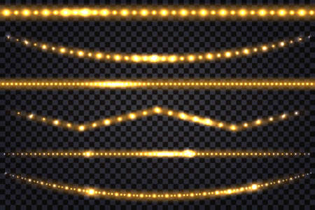 LED light garlands with gold neon glow effect and glitter light Set of lines, golden illuminated strips and waves, isolated tapes on transparent background. Vector illustration