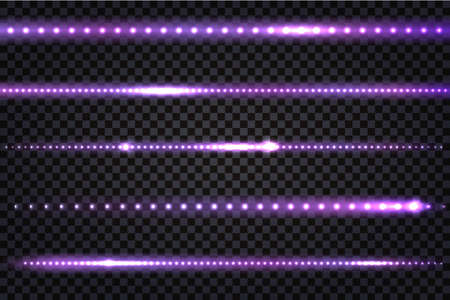 LED light purple lines with realistic neon glow effect. Illuminated colorful strips with flares isolated on transparent background. Vector illustration. Illustration
