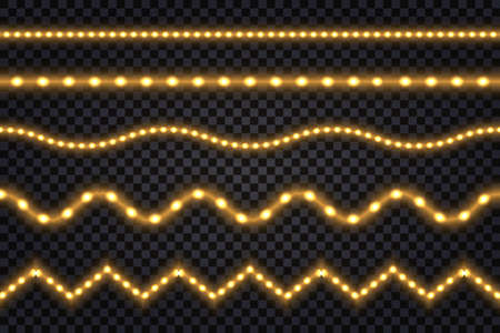 Realistic gold led lines with neon glow light effect. Illuminated strips and waves, set of isolated tapes on transparent background. Vector illustration