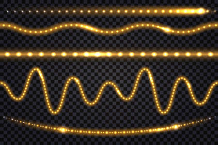 LED light garlands with gold neon glow effect and shimy glitter light Set of lines, illuminated strips and waves, isolated tapes on transparent background. Vector illustration
