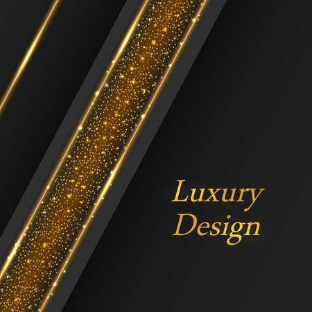 Gold luxury background, golden glowing lines on black. Modern geometric pattern, glittering sparkles and shiny stardust. Vector illustration Illustration