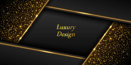 Gold on black luxury background. Golden glowing lines and shiny luminous sparkles with glitter effect. Modern geometric design, abstract backdrop template for poster or banner. Vector illustration