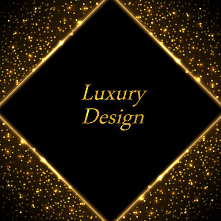Gold luxury border frame. Golden glwing lines on black background. Modern geometric style. Shiny sparkles, glitter effect. Backdrop for poster or banner. Abstract vector illustration