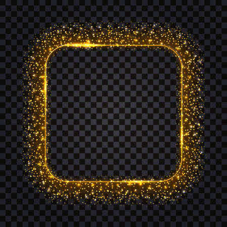 Gold glow frame border. Sparkle glitter, neon light effect, square shape. Golden shiny stardust. Luxurious design element isolated on transparent background. Vector illustration