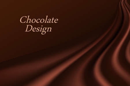 Chocolate wave background. Dark brown creamy chocolate, shiny silk texture. Smooth color flow effect. Abstract vector background for elegant modern poster or banner. 矢量图像