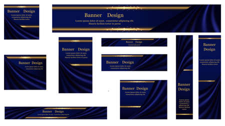 Set of web banner backgrounds, luxury blue silk and glowing golden borders. Smooth wavy satin drapery curtains, shiny gold with sparkles. Vector illustration