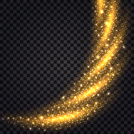 Gold glittering splash and swirl, glowing border with light effect. Luminous shiny star dust, fire trail, shimmer particles. On dark transparent background. Vector illustration