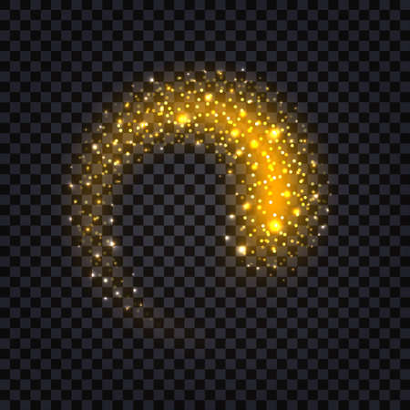 Golden glowing swirl with glitter fire trail and light effect. Shiny luminous stardust and flying particles. Isolated element on transparent background, vector illustration