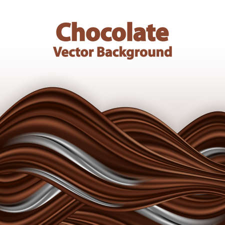 Chocolate wave background. Wavy swirl border, dark brown chocolate and creamy milk splash, smooth color flow. Decorative gradient abstract backdrop, vector illustration