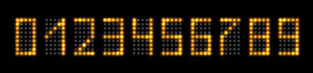 LED numbers with gold neon glowing light effect. Set of realistic fluorescent numbers for digital clock, timer or display design, isolated on black background. Vector illustration