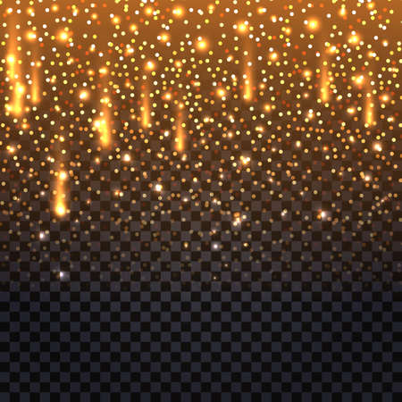Glowing glitter background with shiny flying fire sparks and luminous star dust. Christmas decoration on transparent backdrop. Abstract vector illustration