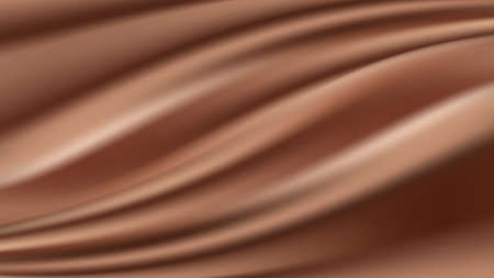 Chocolate pastel wave background. Shiny smooth silk texture, tender milk chocolate cocoa color flow. Abstract vector illustration
