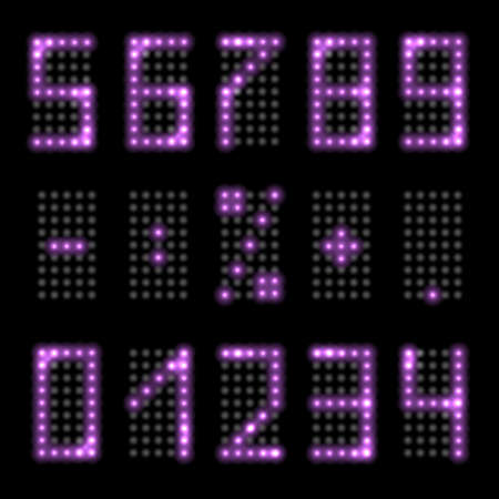 LED light digits with purple neon glowing. Set of luminous numbers with realistic fluorescent shine effect for digital clock or timer design. Isolated on black background, vector illustration 矢量图像