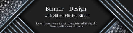 Silver Christmas banner design with light glowing effect, snowflakes and glitter sparks. Modern geometric style, silver shine snow and lines on black background. Vector illustration