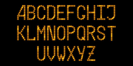 LED font with neon gold glowing light effect. Luminous dotted letters, digital alphabet with shine flare. Vector illustration Illustration