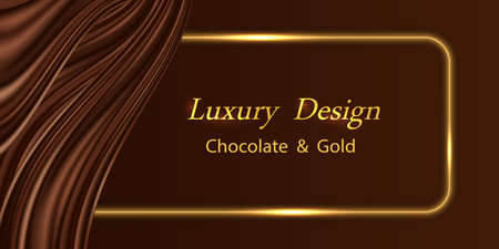 Luxury background with chocolate wavy silk curtain and golden glowing border lines. Dark brown chocolate satin texture, shiny gold frame. Backdrop for banner or poster. Vector illustration 矢量图像