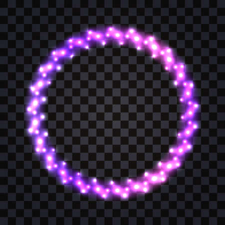 LED frame with neon glowing l Purple shiny border with luminous light effect. Disco design with diode lamp shimmer, Christmas garland. Isolated frame border on dark transparent background, vector illustration