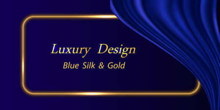 Blue silk luxury background. Deep blue satin fabric texture with curtain drapery and golden glowing border line. Luxurious abstract backdrop for banner or poster. Vector illustration