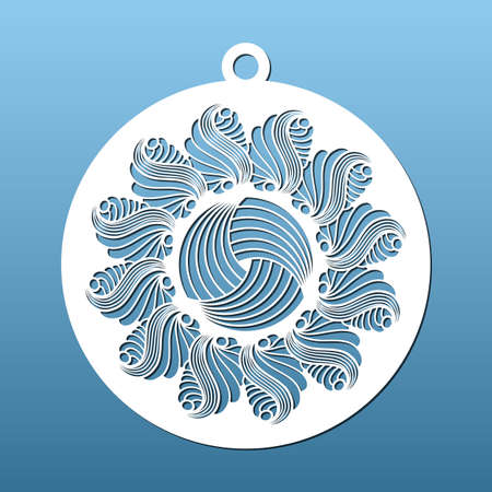 Laser cut Christmas balls CNC cutting stencil with abstract geometric pattern. Paper art, home Christmas decor, fretwork. Coaster or decorative pendant, vector illustration