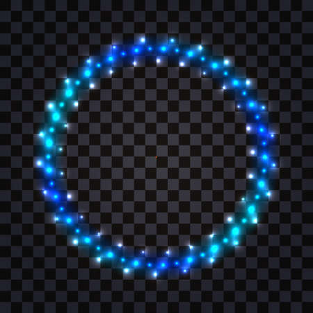 LED light round frame with blue neon glowing. Shiny luminous border with flare and diode lamp effect. Decorative circle on dark transparent background isolated, vector illustration