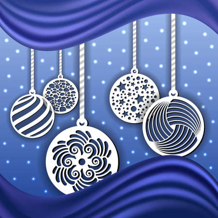 Christmas background decoration. Laser cut balls, paper art. Blue backdrop with winter snow. Vector illustration 矢量图像