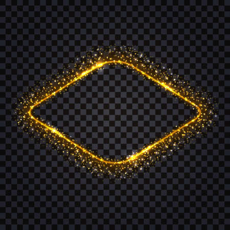 Golden luxury frame isolated with glowing sparkles and shiny luminous stardust. Rhumb shape gold borderwith shiny light flare effect. Vector illustration