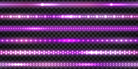 Purple LED strips and garlands with neon glowing effect and glitter light. Luminous shiny border string tapes, isolated on transparent background. Vector illustration