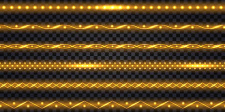 Golden LED strips and garlands with neon glowing effect and glitter light. Luminous shiny gold border tapes, isolated on transparent background. Vector illustration