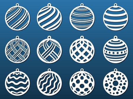 Laser cut Christmas balls. Set of templates for cnc cutting, paper art, fretwork Metal, wood, leather, resin, fretwork diy craft. Decorative elements, coasters, pendants. Vector illustration