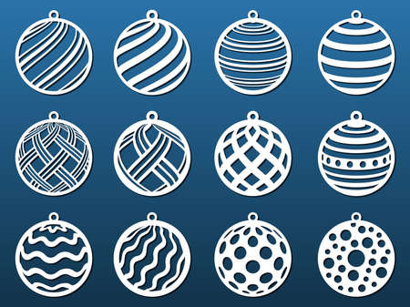 Laser cut Christmas balls. Set of templates for cnc cutting, paper art, fretwork Metal, wood, leather, resin, fretwork diy craft. Decorative elements, coasters, pendants. Vector illustration