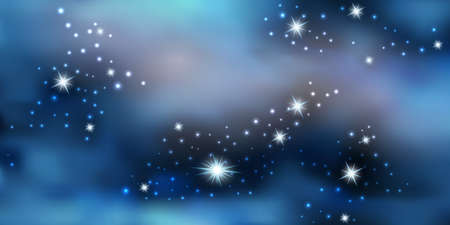 Blue night sky with shiny stars. Galaxy space background, nebula stardust. Cosmic universe. Vector illustration