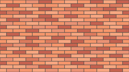 Brick wall texture, seamless pattern. Background for house wall masonry. Red brick. Vector illustration