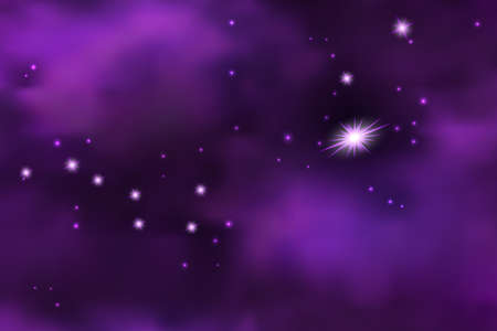 Cosmic galaxy space background with Big Dipper constellation. Starry sky and cloudy mist, shiny flyingstars and sparkles. Vector illustration Ilustración de vector