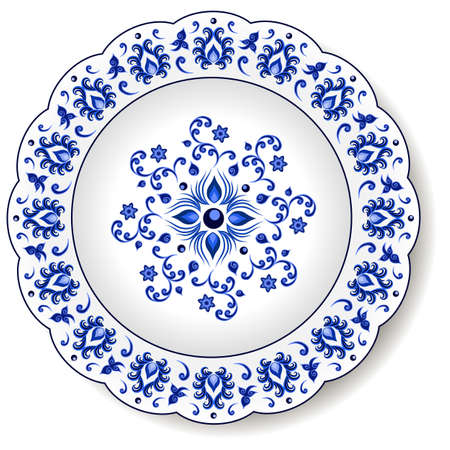 Porcelain plate with blue on white abstract oriental ornament in Chinese design style. Traditional decorative pattern with flowers and leaves. Isolated plate or dish, vector illustration