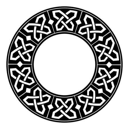 Circular decorative border with celtic ornament. Traditional medieval celtic knots pattern. Black and white design. Vector illustration Ilustración de vector