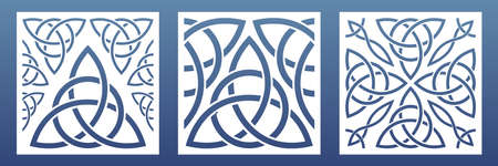 CNC laser cutpanels with abstract geometric pattern. Ornament with celtic knts and motives. Room screens, wall art, card background. Vector illustration