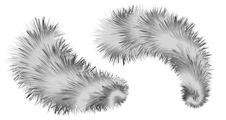 Striped furry brush pompoms. Shaggy fluffy fur realistic texture. Black and white decorative elements isolated. Vector illustration. Vecteurs
