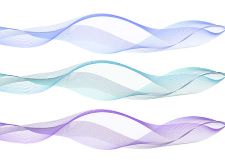 Abstract wave swoosh, blue, teal and purple color flow. Air waves with transparent veil texture, undulate curves and swirl, s for design, isolated don white background. Vector illustration.